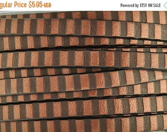 ON SALE 5MM Metallic Copper and Brown Flat Leather Cord - Made in Eu - Qty. 2ft/24""