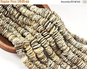 "25% OFF Jasper Asymmetrical Heishi Bead strands, Cream Jasper Heishi Beads, 13mm-17mm, 17"" strand - SJAS129"