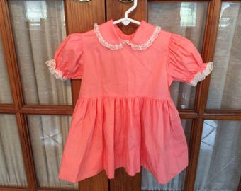 Vintage Toddler Girl 3T Dress Party Photo Shoot Session Peach Lace Trim Mini World