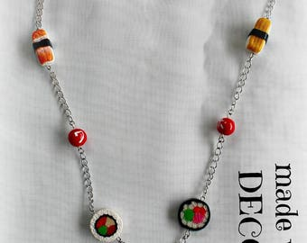 Necklace with polymer clay SUSHI necklaces
