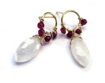 Wire Wrapped Earrings, Garnet Post Earrings, Moonstone Dangle Earrings, Gemstone Gold Stud Earrings, January Birthstone, Gold Hoop Earrings