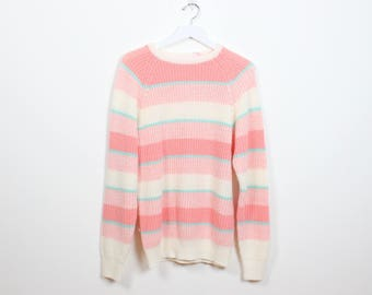 Vintage 1980s Sweater Peach Pink Ivory Cream Teal Blue Striped Jumper Chunky Knit Sweater 80s Preppy Oversized Boyfriend Sweater L Large