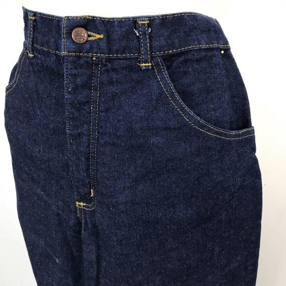 "Vintage jeans blue denim high waisted straight leg dark denim boot flared trousers high waist pants 33"" waist 32"""