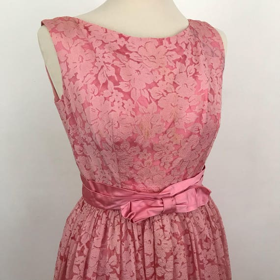 vintage dress pink lace maxi dress satin bow GoGo 1960s cocktail party Scooter girl straight LBD 60s Mod UK 10 cupcake full skirt