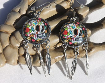 Halloween Day of the Dead Sugar Skull Dangle Drop Earrings Ant. Silver SS4  /1pair