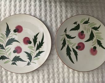 Two 10 inch Stangl Pottery Plates with Thistle design