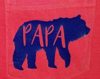 Papa Bear Pocket Tee-Fathers Day