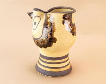 Karen Boel Ceramic Modernist Jug Vase Pitcher Danish c1970s Painted Bird
