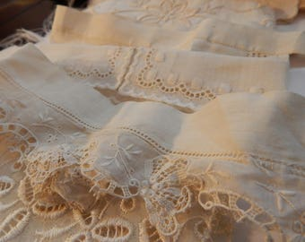 Lace and Fabric Antique Collar or Cuff Pieces - 6