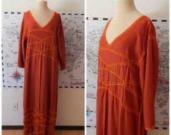 Hippy Festival Macrame Fringe Burnt Orange Linen Shift Maxi Dress Medium Large