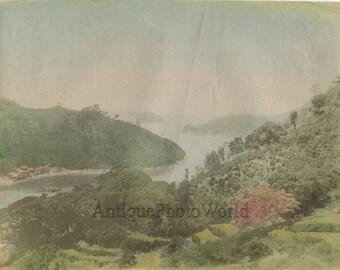 Japan Nagasaki islands aerial view antique hand tinted albumen photo