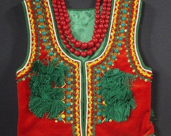 Polish Girl's Ethnic Folk Vintage Costume Vest and Beaded Necklace from Krakow Poland Polska strój ludowy