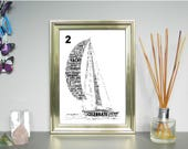 Sailing Personalised Word Art Print FREE UK P&P.  Sports, Water Sports, Word Cloud Picture, Word Collage, Digital word art