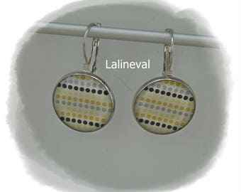 Stud Earrings with yellow, grey and black polka dots