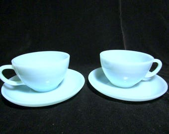 Fire King Cups and Saucers , Blue Turquoise, Set of 2 Cups and Saucers, Excellent Condition,  Mid Century Dinnerware