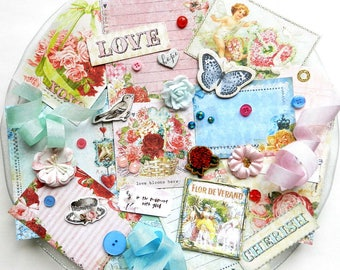 Embellishment Kit / Blue Fern Studios Heartland / Scrapbook Embellishments / Junk Journal Kit / Prima Flowers / Pocket Cards / Scrapbook Kit