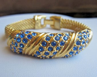 Jackie Kennedy GP Bracelet - 24K Mesh with Blue Stones, Box and Certificate - Sz 6.5