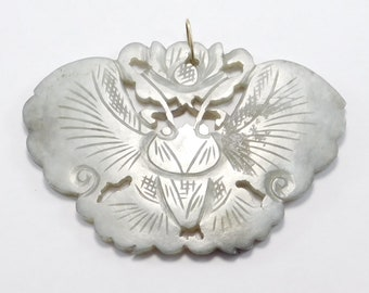 Old Ornately Carved Natural Jade Butterfly Pendant
