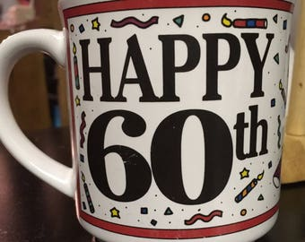 Happy 60th Birthday Mug with Sarcastic Comments on the Back
