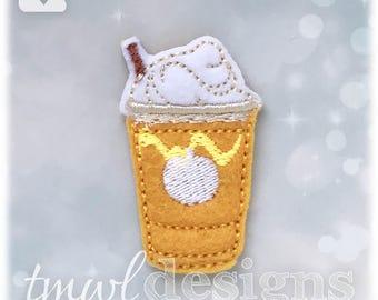 """Pumpkin Frappe Drink Feltie Digital Design File - 1.75"""""""