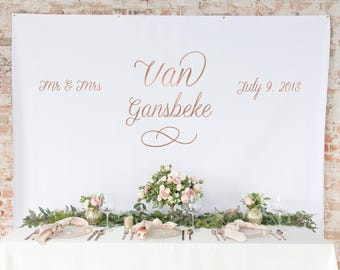 Wedding Backdrop Curtain - Rose Gold Wedding Backdrop Curtain - Photo Booth Backdrop Curtain -  Wedding Table Backdrop - The Bella