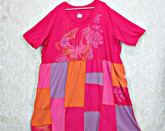 Plus Size Dress, Upcycled Clothing, Patchwork Tunic, Plus Size Clothing, Size 4X, Size 5X, Boho Clothing, Eco Fashion, by Repurpose Couture