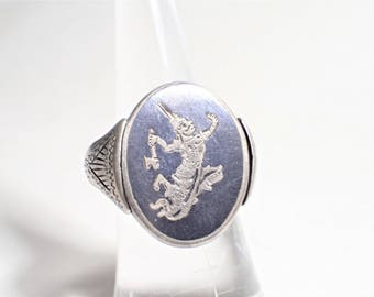 Siam Sterling Silver Swivel Ring Two Sided Siam Dancers God Of Thunder Ramasoon Nielloware