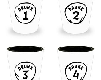 Dr. Seuss Drunk 1, 2, 3, and 4 Funny Shot Glass Gift Sarcastic Thing One Two (SET of 4)