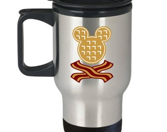 Mickey Waffles Bacon Disney Fun Gift Travel Mug Disneyland Mouse Coffee Cup Breakfast Brunch