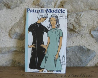 1960s French dress pattern, vintage sewing pattern, Patron Modele 88009