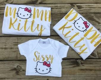Mama Kitty,dada kitty, sissy kitty, hello kitty birthday party, family matching shirts, vacation , party, mom and dad matching shirts ,