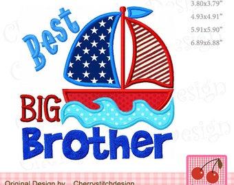 Best Big brother Sailboat Machine Embroidery Applique Design