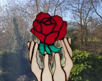Stained Glass Rose In Hands Suncatcher Beautiful Window hanging.