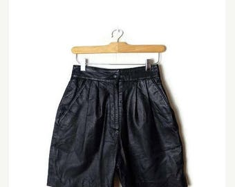 ON SALE Vintage Black Leather  High Waist Flare Shorts from 1980's/W24*