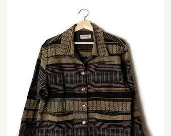 ON SALE Vintage Brown/Black Stripe Cotton Jacket  from 90's*