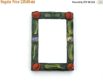 ON SALE 33 % Green Square Mirror with Orange and Yellow Glass Beads,Decorative Wall Mirror,wall hanging mirror