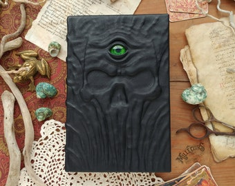 Third eye handmade journal, strange esoteric enigmatic black grimoire, ooak pagan leather book, wicca tarot diary dark horror skull notebook