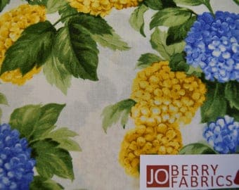 Hydrangeas in Blue and Yellow from Summer Breeze III Collection by Sentimental Studios for Moda.  Quilt or Craft Fabric, Fabric by the Yard.