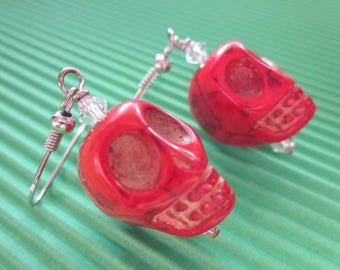 Large Red Howlite Skull Earrings Embellished with White Swarovski Crystals