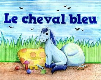 "Drawing / illustration ""Blue page horse 1"""