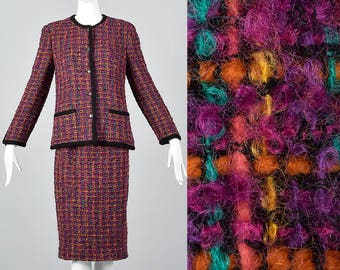 Chanel Pink Tweed Skirt Suit Wool Separates Autumn Blazer Pencil Skirt Vintage 1980s Designer Suit Chunky Mohair Wool  Tweed