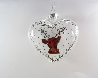 Limited Edition Hand Painted Reindeer Heart Shaped Home Christmas Tree Decoration