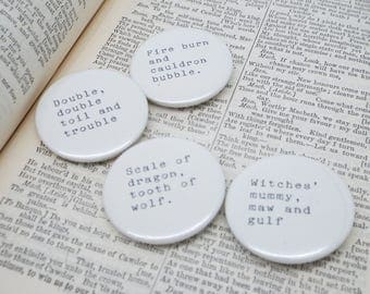 Macbeth - Shakespeare Quote - Three Witches - Pin Button Badges x 4 Quotes