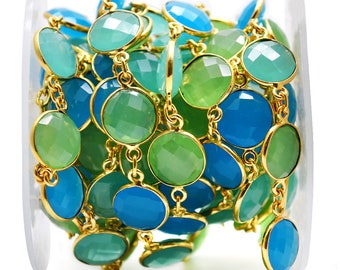 Multicolor Connector Beaded Chain, Gold Plated Gemstone Connector Chain, Round Bezel Continuous Chain (GPMC-20008)