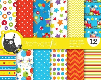 80% OFF SALE Circus train digital paper, commercial use, scrapbook papers, background - PS721