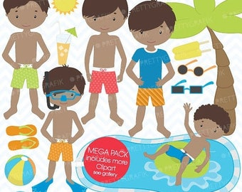 80% OFF SALE pool party clipart commercial use, vector graphics, digital clip art, digital images  - CL455