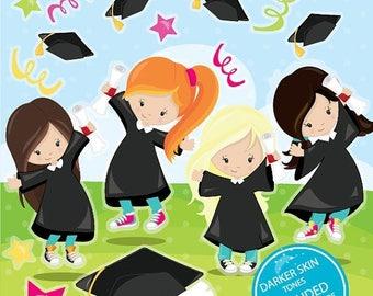 80% OFF SALE Graduation clipart commercial use, Graduation kids vector graphics, Graduation girls digital clip art, digital images - CL982