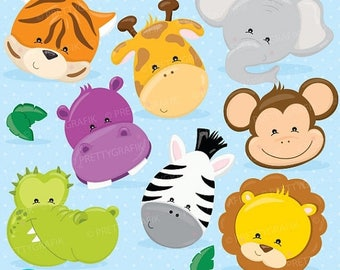 80% OFF SALE Baby Safari Animals clipart commercial use
