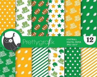 80% OFF SALE Football digital paper, commercial use, scrapbook papers, background chevron, stripes, sports, team - PS739