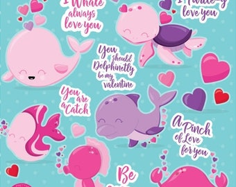 80% OFF SALE Valentine clipart commercial use, sea animals vector graphics, valentine digital clip art, whale digital images  - CL1055